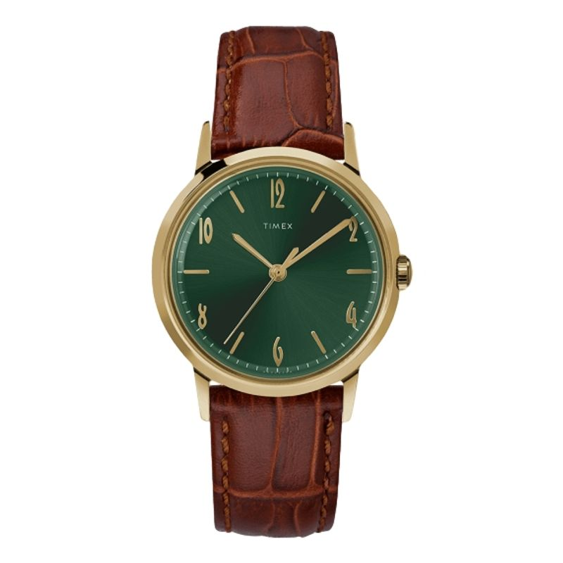 Marlin Hand-Wound 34mm Leather Strap Watch Green Dial