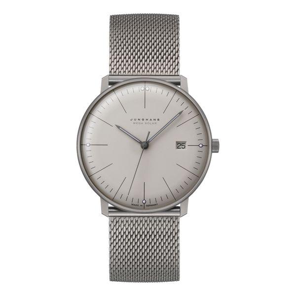 Max Bill MEGA Solar Titanium Case Light Grey Dial Milanaise Bracelet