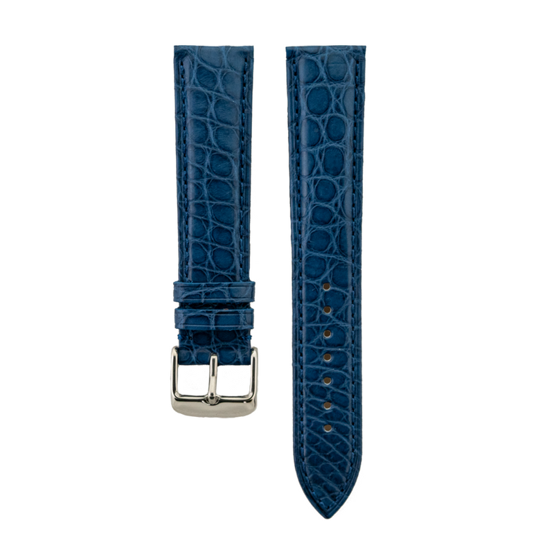 Genuine Blue Matte Alligator Light Padded Strap