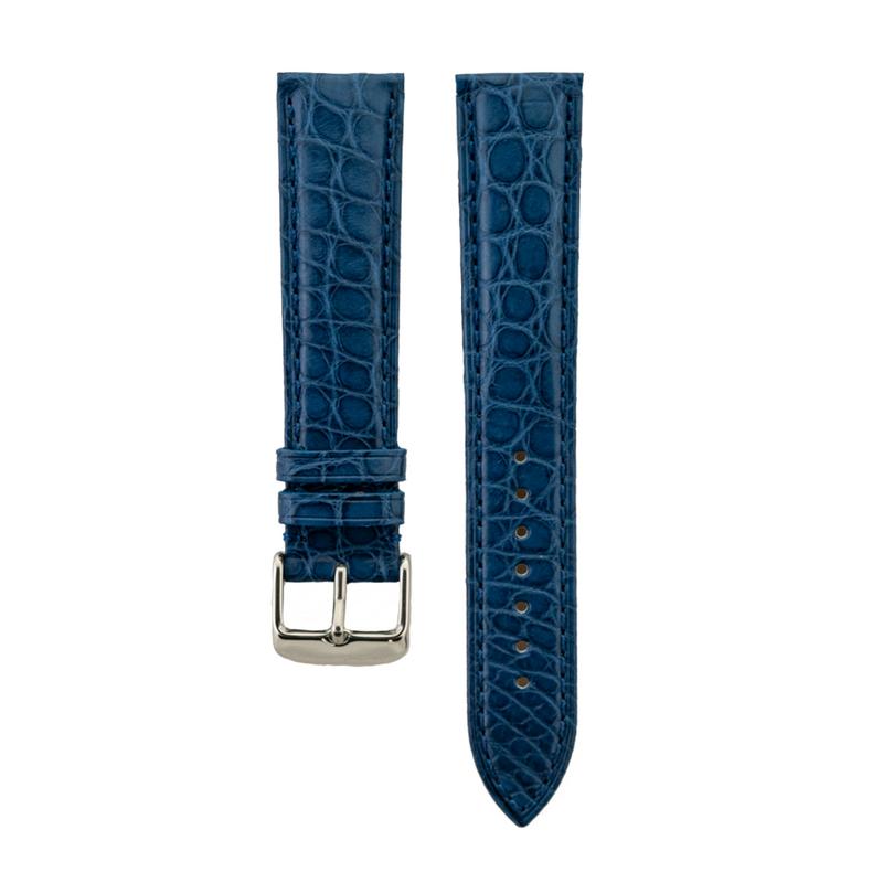 Genuine Blue Matte Alligator Light Padded Strap