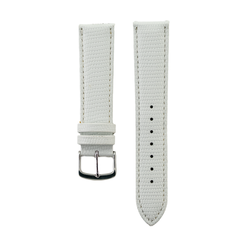 White Java Lizard Grain - Genuine Italian Leather Strap