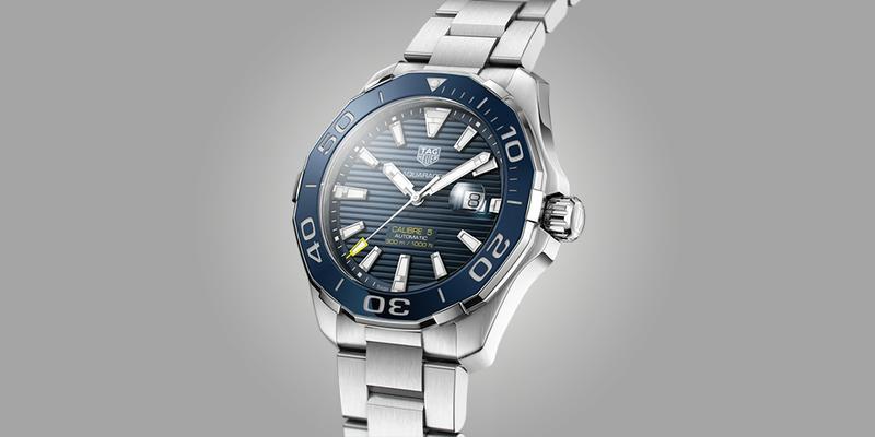 Tag Heuer Aquaracer on bracelet with black dial