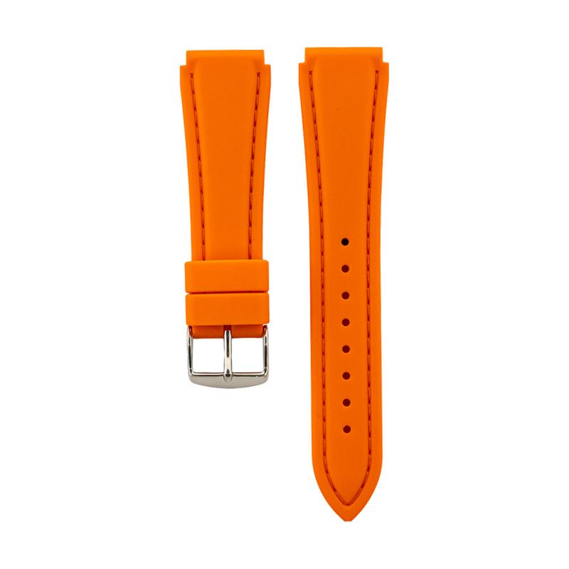 Orange Genuine Silicone Stitched Strap