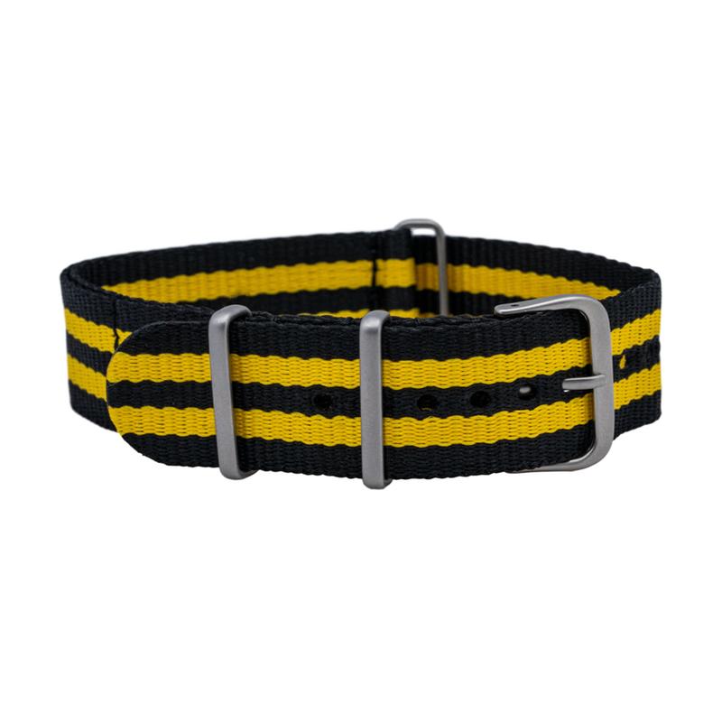 Black/Yellow One Piece Nylon Strap