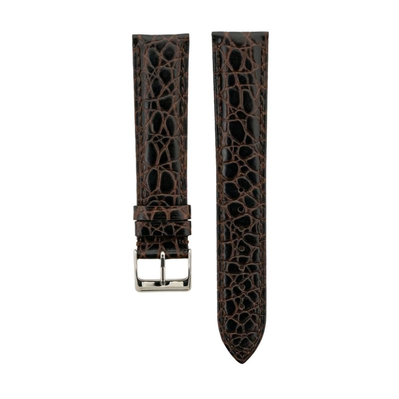 Brown Alligator Grain - Genuine Italian Calfskin Light Padded Strap