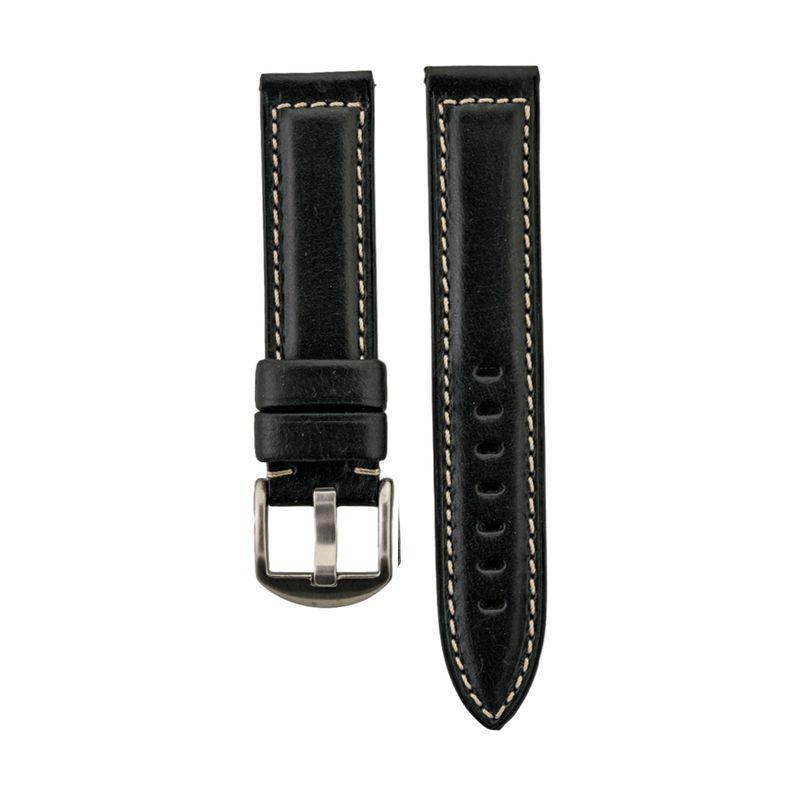 Black Genuine Oil Tan Leather Strap White Stitching