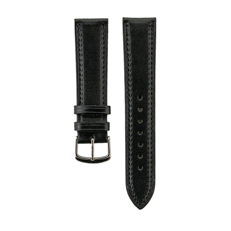 "Black Genuine Italian ""Vegetable Tanned"" Leather Strap Black Stitching"