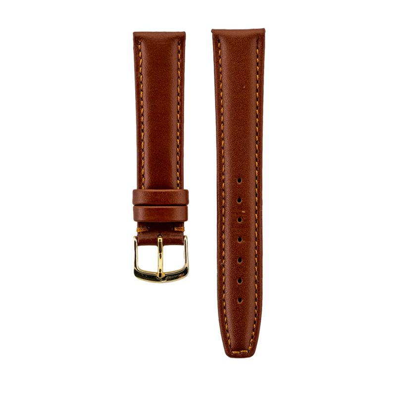 Brown Genuine Italian Leather Stitched Strap