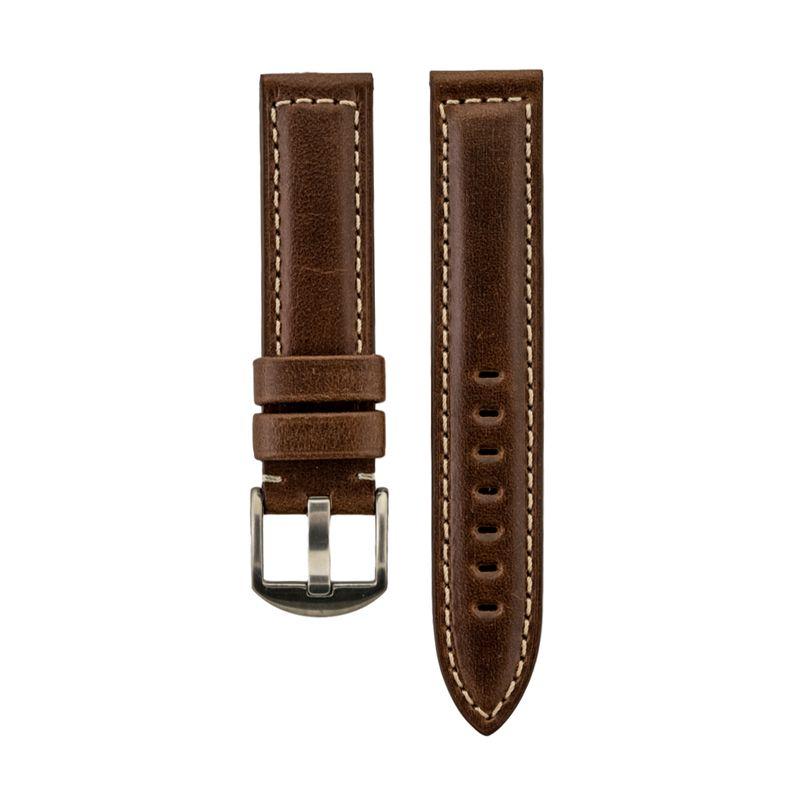 Brown Genuine Oil Tan Leather White Stitched Strap