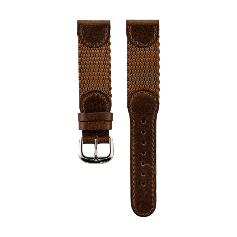Brown Genuine Oil Tan Leather & Nylon Strap