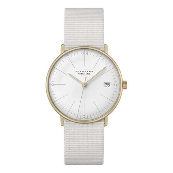 Max Bill Automatic 34mm Gold PVD Case White Textile Strap