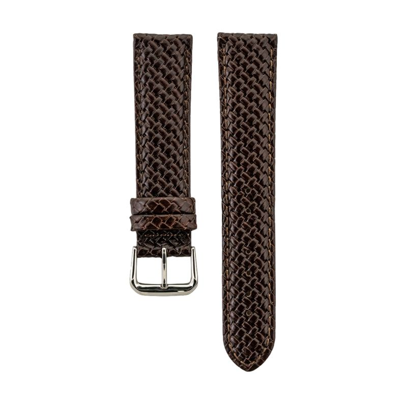 Brown Genuine Leather Weave Strap