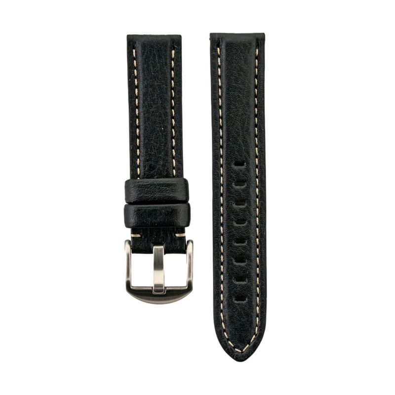 Black Genuine Vegetable Tanned Leather White Stitching