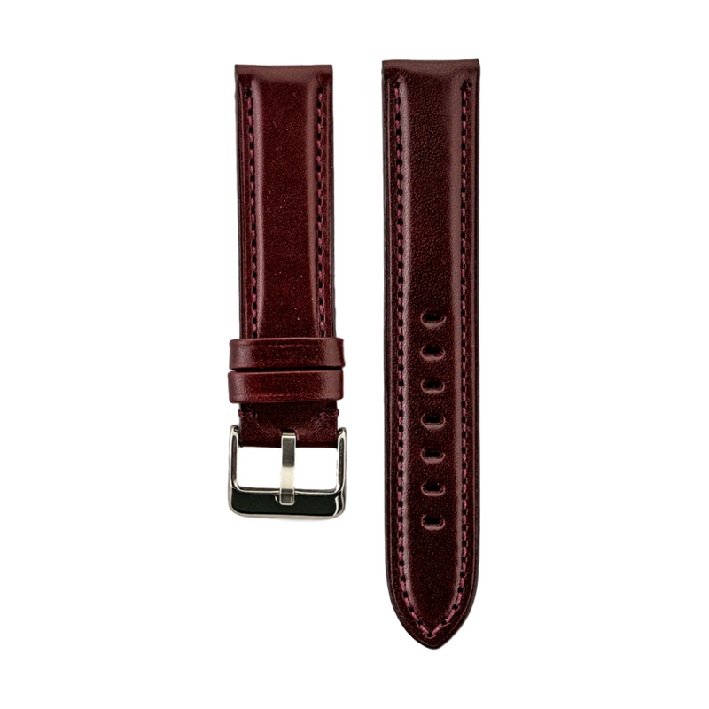 High Polished Burgundy Italian Leather Strap