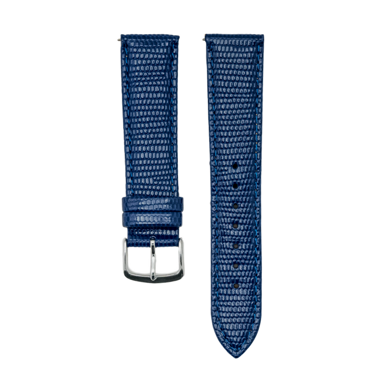 Navy Java Lizard Grain - Genuine Italian Leather Strap