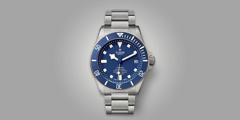 Tudor Pelagos with blue dial and in-house movement viewed from the front on bracelet