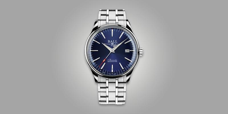 Ball Trainmaster Manufacture 80 Hour Power Reserve Blue Dial on bracelet