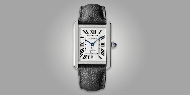 Cartier Tank Solo on leather strap with white dial