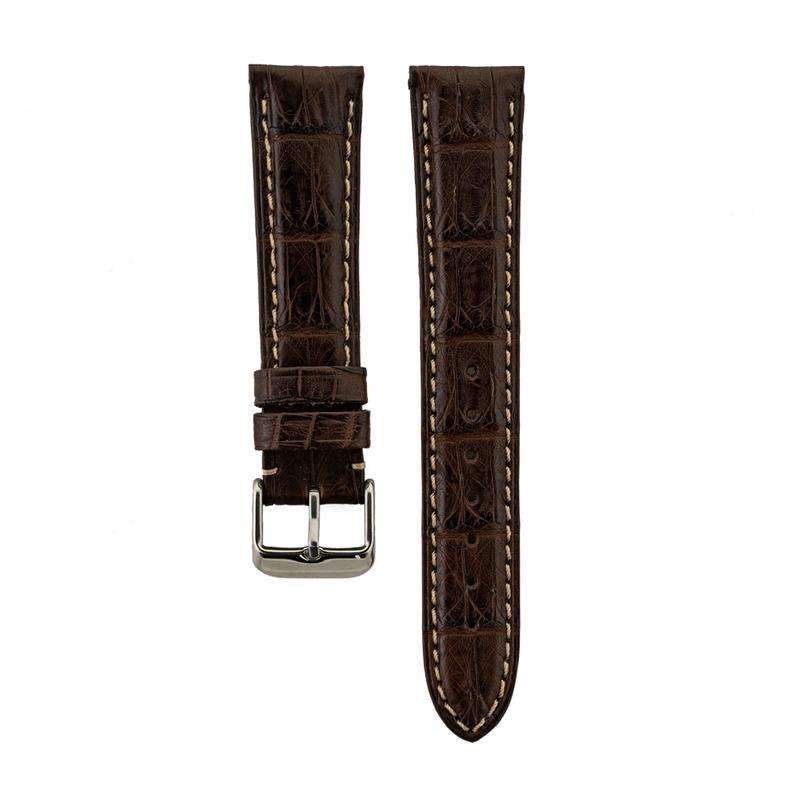 Genuine Matte Brown Caiman Crocodile Stitched Strap