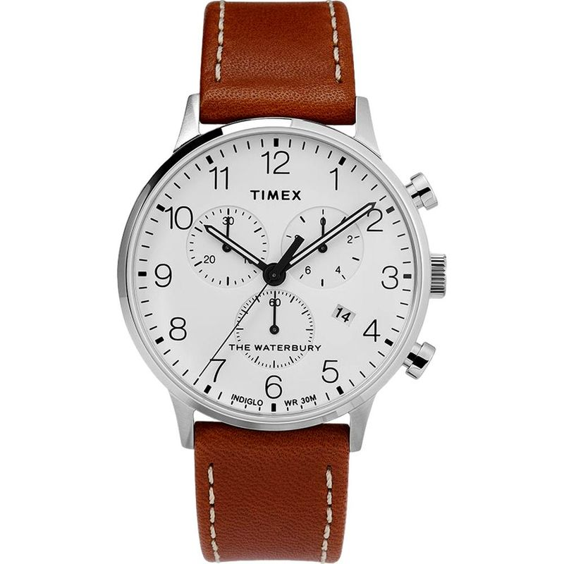 Waterbury Classic Chronograph 40mm Stainless Steel Leather Strap
