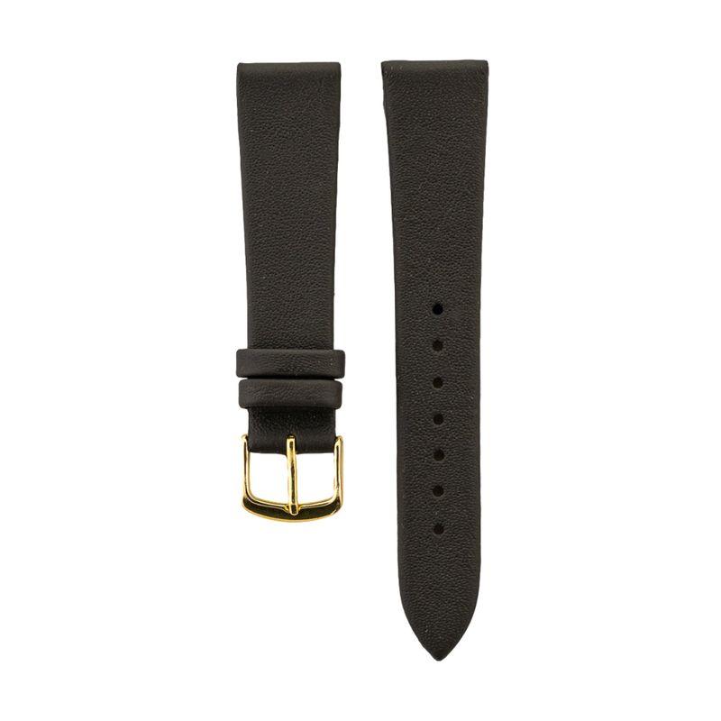 Brown Genuine Calfskin Leather Strap Gold Buckle