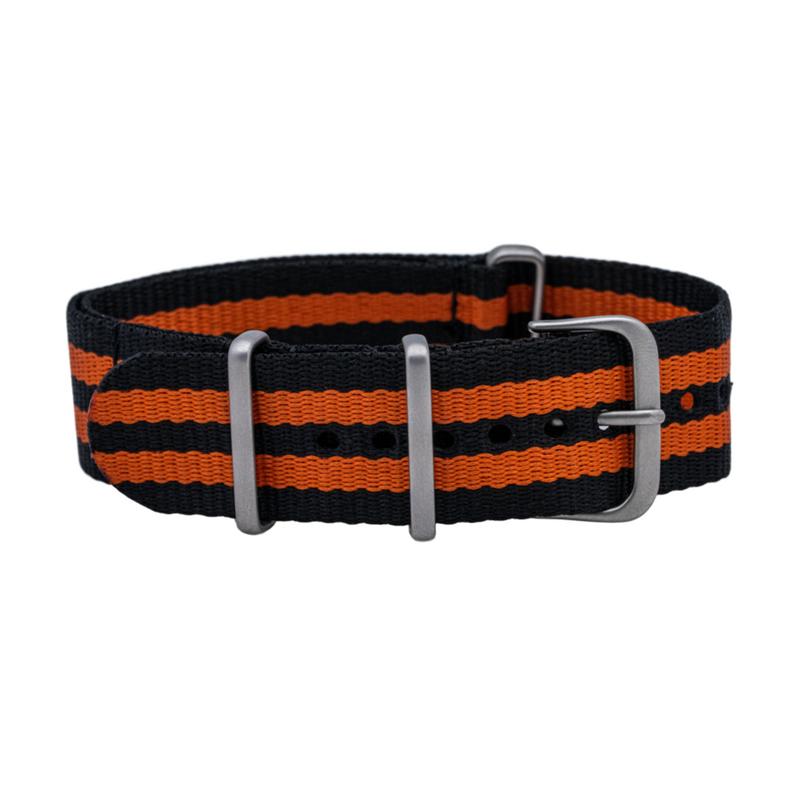Black/Orange One Piece Nylon Strap