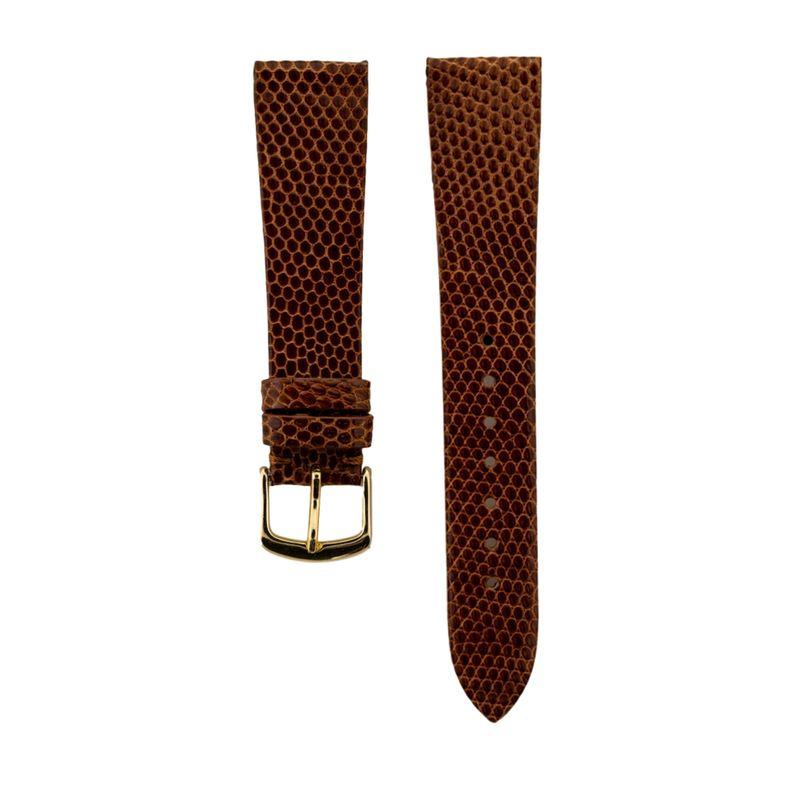 Tan Genuine Java Lizard Strap Gold Buckle