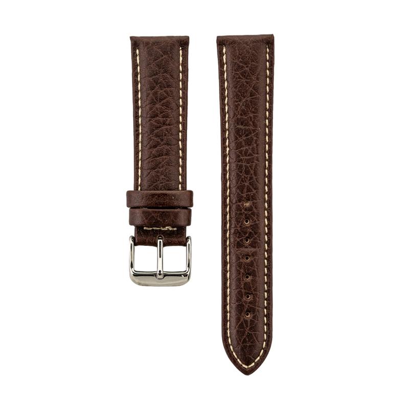 Brown Shrunken Grain Genuine Italian Leather Stitched Strap
