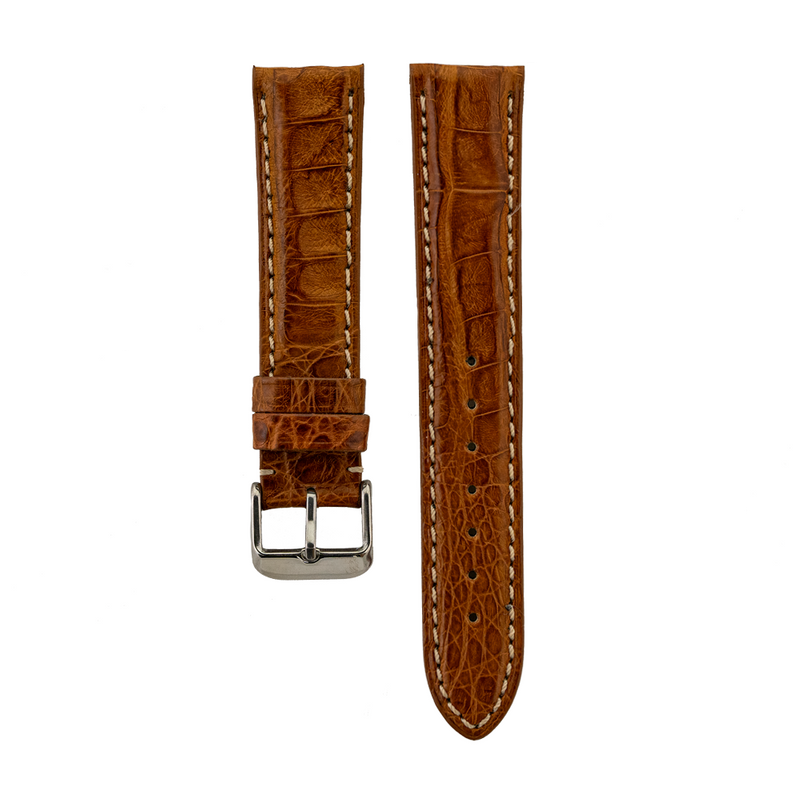 Genuine Matte Tan Caiman Crocodile Stitch Strap