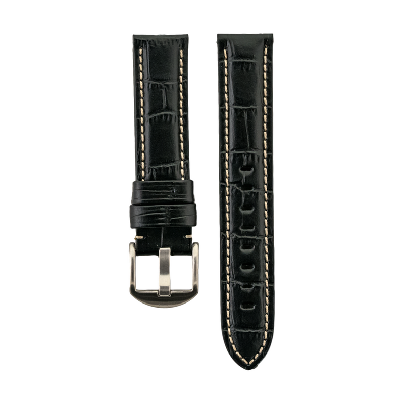 Black Alligator Grain - Genuine Italian Calfskin Strap White Stitch