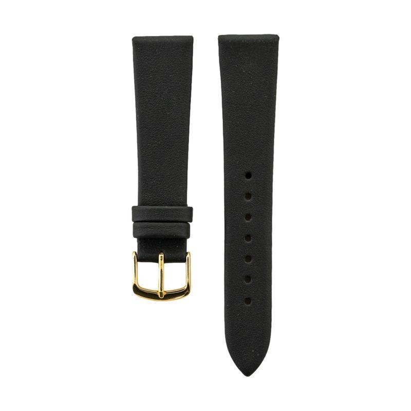 Black Genuine Calfskin Leather Strap Gold Buckle