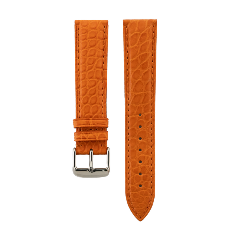 Genuine Orange Matte Alligator Light Padded Strap