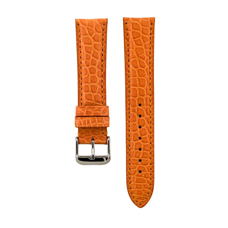 Genuine Orange Matte Alligator Strap