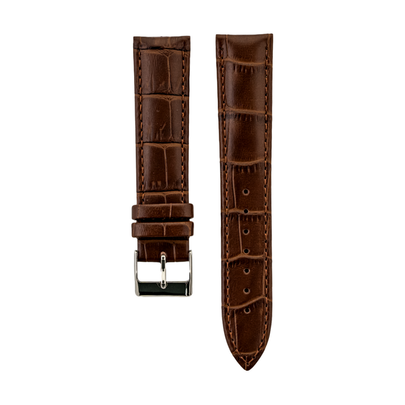 Brown Alligator Grain - Genuine Calfskin Strap