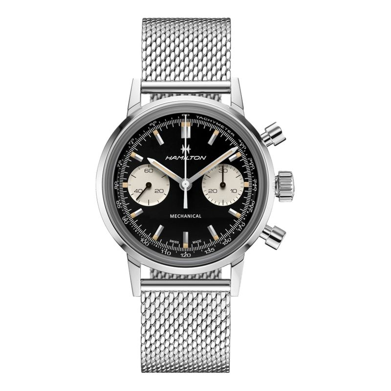 American Classic Intra-Matic Chronograph H Black Dial Mesh Bracelet