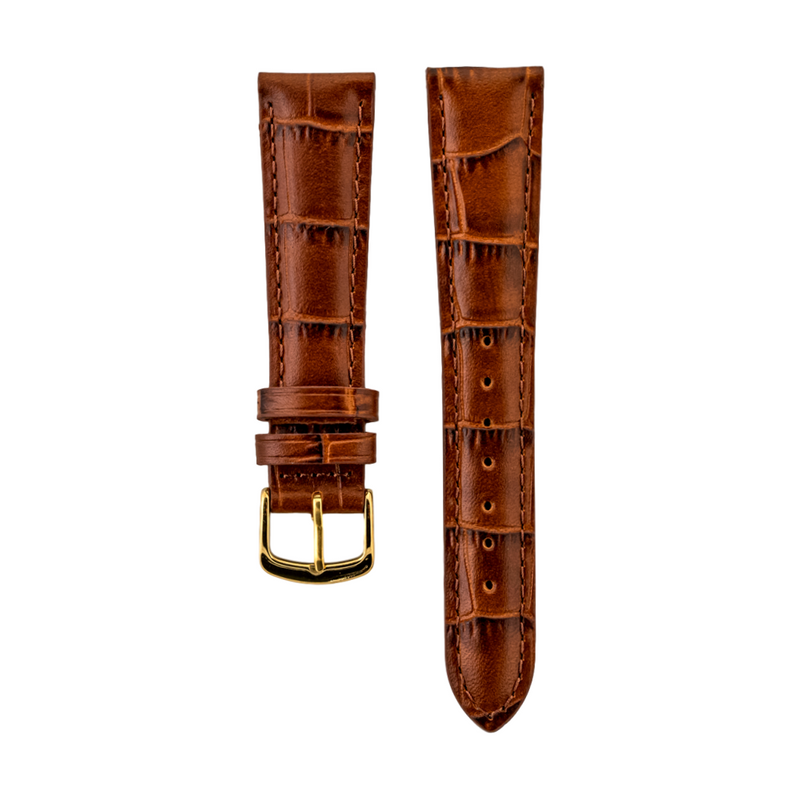 Brown Alligator Grain - Genuine Italian Calfskin Strap Gold Buckle