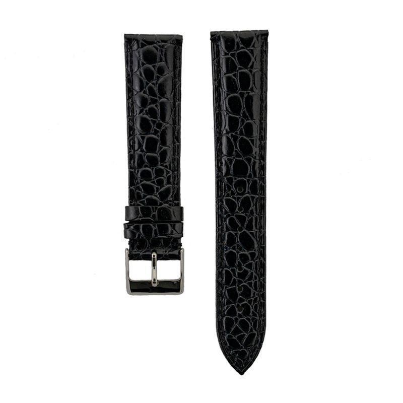 Black Alligator Grain - Genuine Italian Calfskin Strap Semi-Gloss