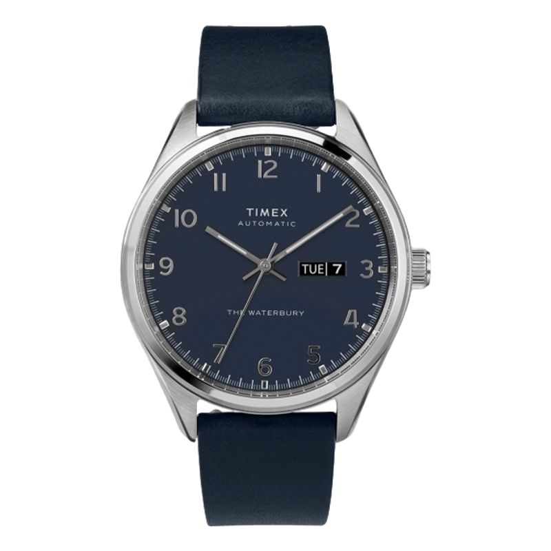Waterbury Traditional Automatic Day-Date 42mm Leather Strap Watch Blue Dial