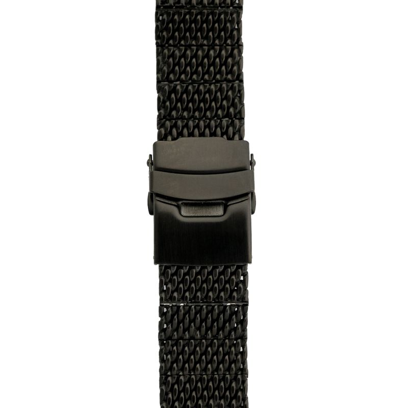 Black Stainless Steel Mesh Band with Fold Over Clasp