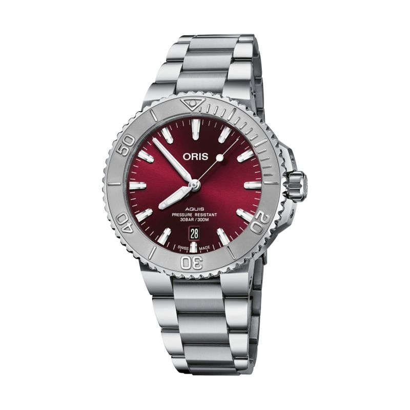 Aquis Date Cherry Dial Edition
