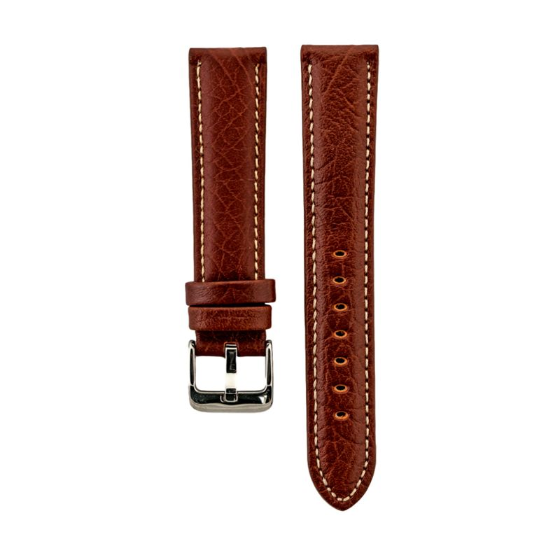 Tan Shrunken Grain Genuine Italian Leather Strap