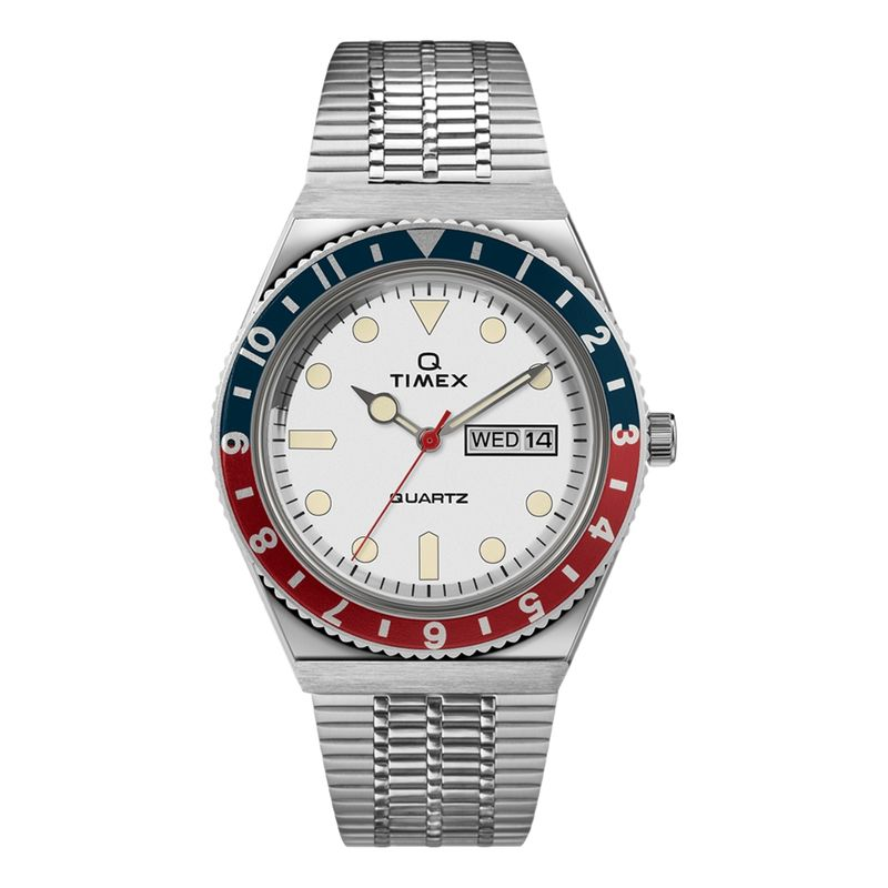 Q Timex Reissue 38mm Stainless Steel Bracelet Watch White Dial