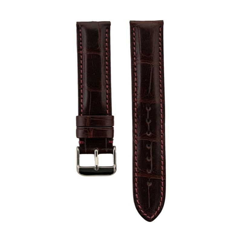 Burgundy Genuine Matte Alligator Strap