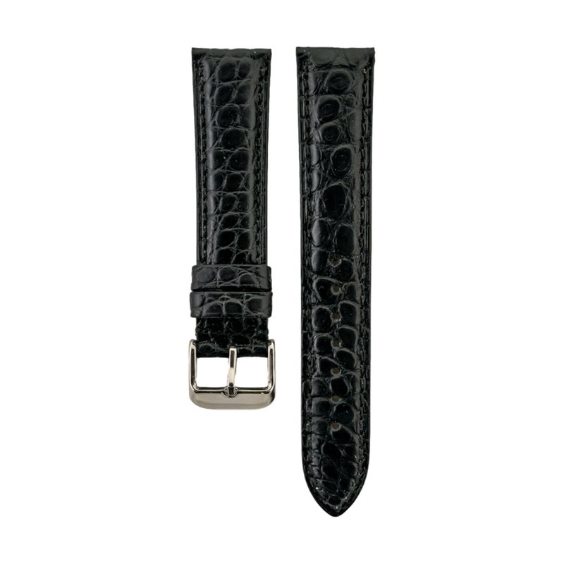 Genuine Black Matte Alligator Strap Heavy Pad