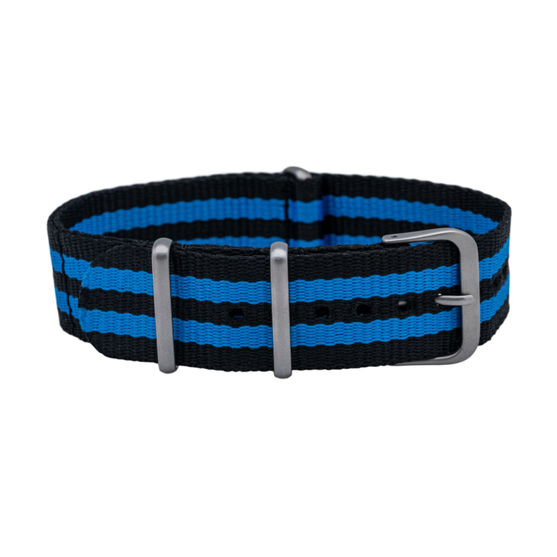 Black/Blue One Piece Nylon Strap