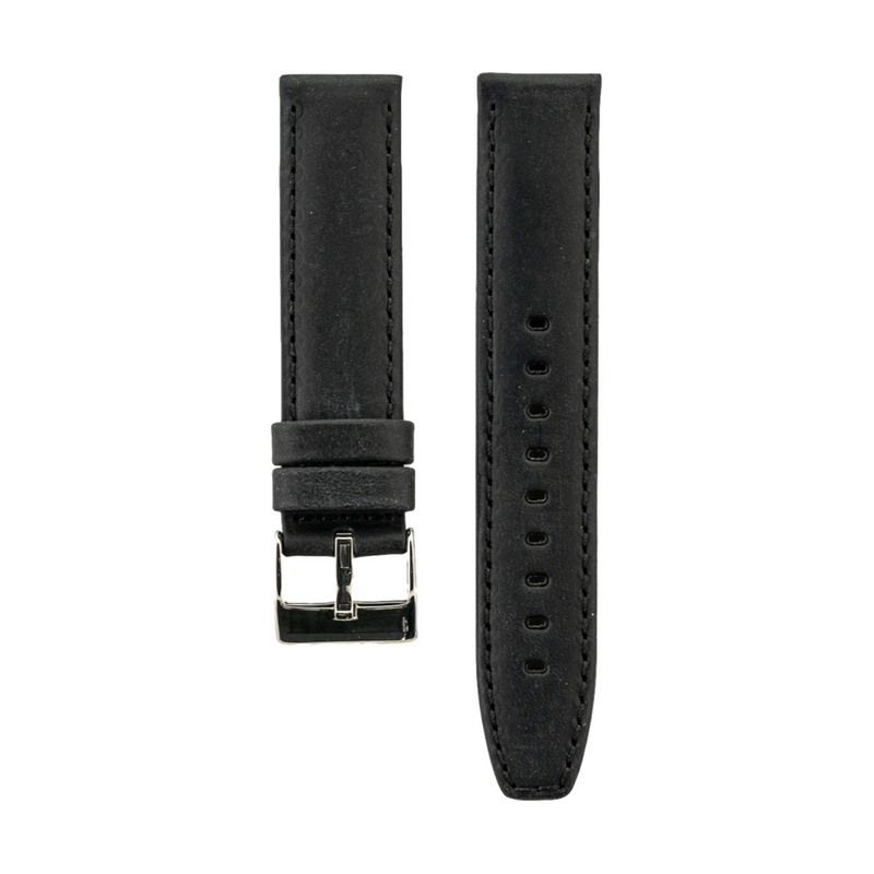 Black Distressed Crazy Horse Leather with Horween Leather Lining Strap
