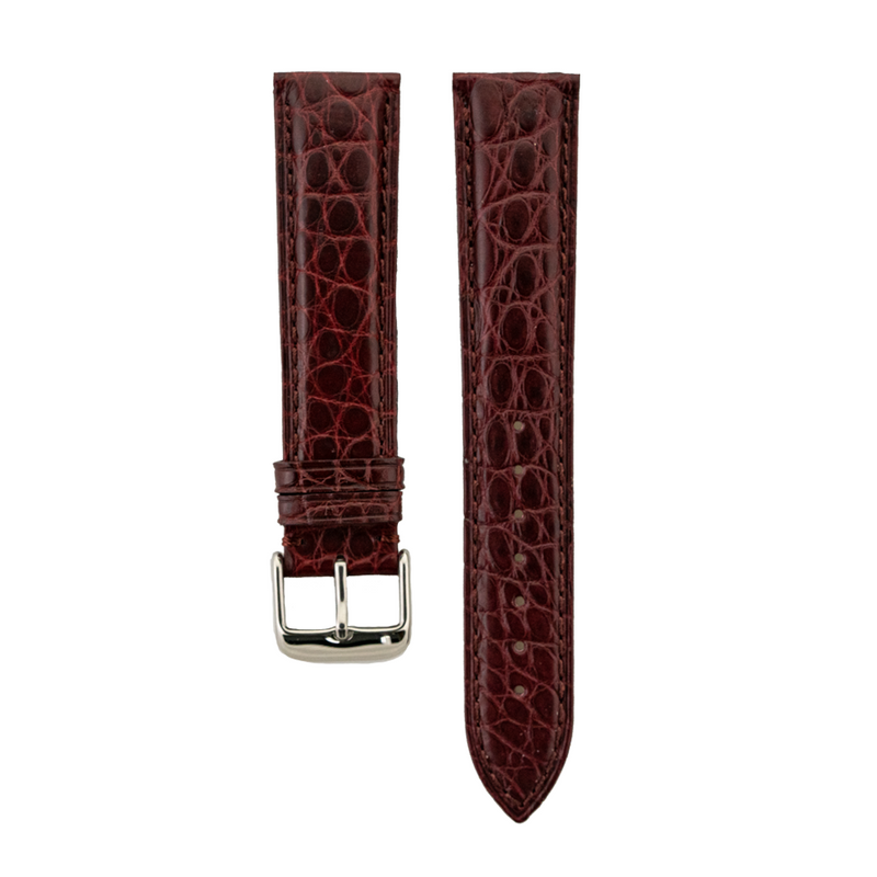 Genuine Burgundy Matte Alligator Light Padded Strap