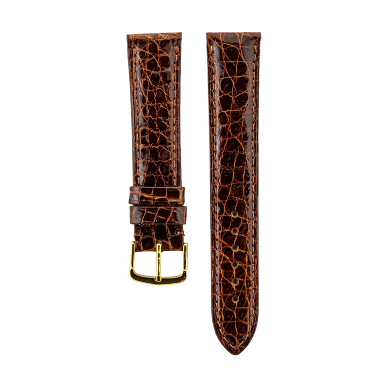 Genuine Honey Caiman Crocodile Strap Gold Buckle