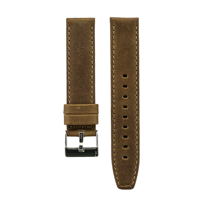 Olive Distressed Crazy Horse Leather with Horween Leather Lining Strap