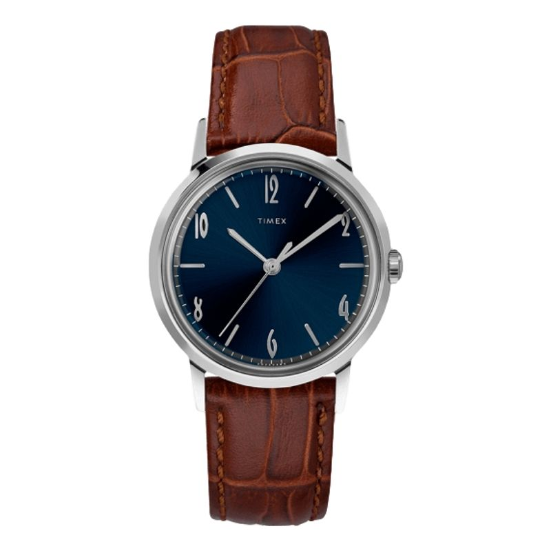 Marlin Hand-Wound 34mm Leather Strap Watch Blue Dial